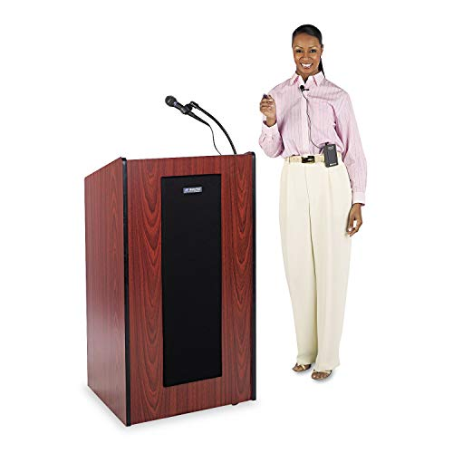 (AmpliVox Presidential Plus Wireless Lectern, 25-1/2w x 20-1/2d x 46-1/2h, Mahogany - SW450-MH)