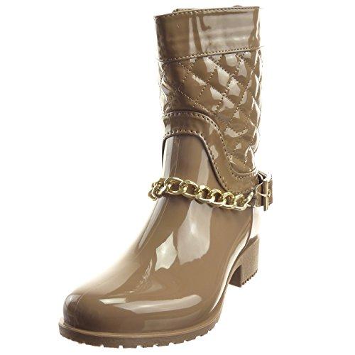 Sopily - damen Mode Schuhe Stiefeletten Stiefel Gummistiefel glänzende gesteppt schuhe - Khaki