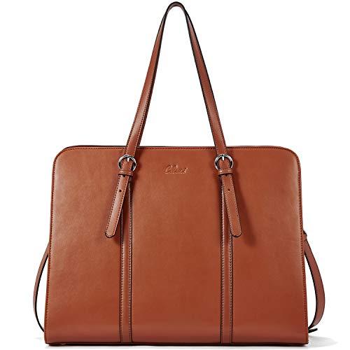 Leather Briefcase for Women 15.6 Inch Laptop Business Work Vintage Slim Ladies Shoulder Bag brown