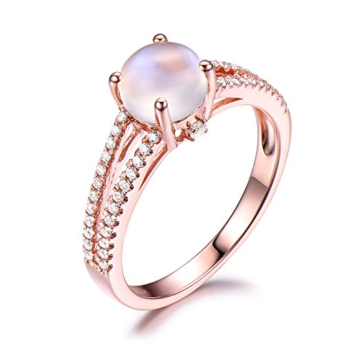 Moonstone Engagement Ring CZ Diamond Split Shank Wedding Band 925 Sterling Silver Rose Gold Plated Round by Milejewel Moonstone engagement rings