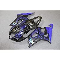 Black w/ Blue Flame Fairing Injection for 2003-2004 Suzuki GSXR GSX-R 1000