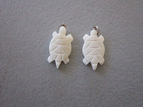 (10 Turtle Carved Buffalo Bone Pendants 1 1/4 Charms Beads Jewelry Crafts bt2)