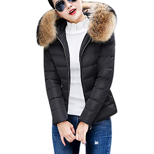 Wobuoke Women Winter Warm Large Faux Fur Hooded Short Solid Slim Cotton-Padded Jackets Coat -