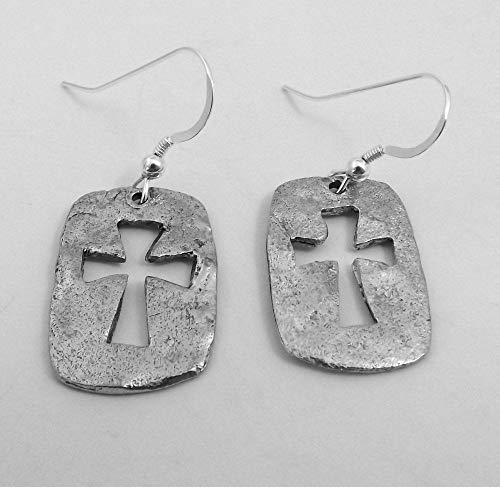 Hammered Pewter Cut Out Cross Charms on St Silver Ear Wire Dangle Earrings -0396 for Jewelry Making Bracelet Necklace DIY Crafts