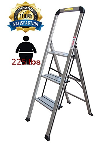 Toprung 3-Step Stool Aluminum Ladder Portable Folding Anti-Slip with Rubber Hand Grip, Silver Household Stepladders WP-648 by Toprung