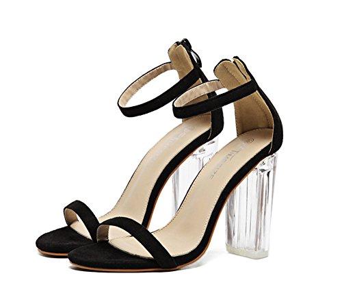 negro gruesos cremallera con mujer tacón de toe tacones AdeeSu uretano peep sandalias para de wORAWqOS4f