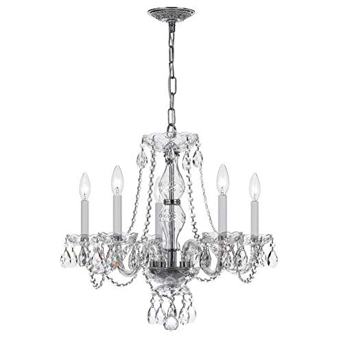Crystorama 5085-CH-CL-MWP Crystal Five Light Chandelier from Traditional Crystal collection in Chrome, Pol. Nckl.finish, ()