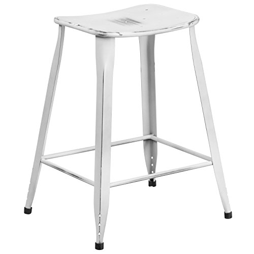 Flash Furniture 23.75'' High Distressed White Metal Indoor-Outdoor Counter Height Saddle Comfort Stool - Small Upholstered Chair