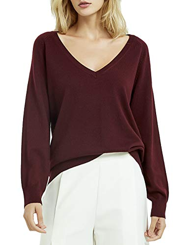 Kallspin Women's Cashmere Blended Sweater V Neck Long Sleeve Pullover (Burgundy, Medium)