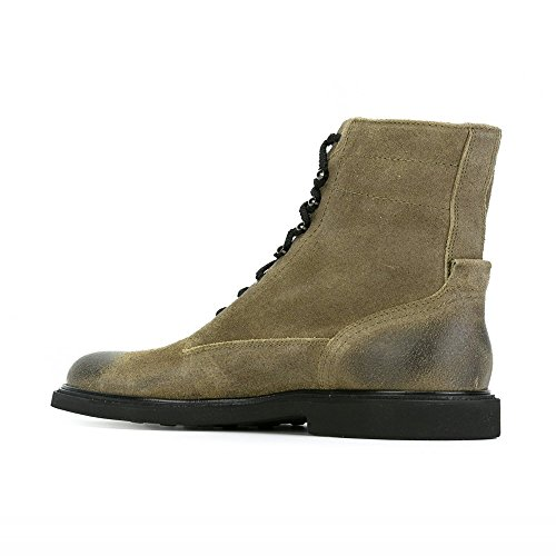 jinfu Mens Suede Lace Up Side Zipper Motorcycle Ankle Boots Round Toe Riding Khaki Shoes RVIIfv9XQ