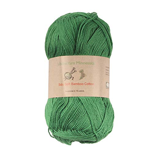Baby Soft Bamboo Cotton Yarn - JubileeYarn - Shamrock Green - 4 Skeins