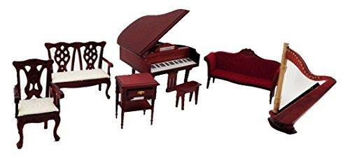 Melody Jane Dolls House Music Room Furniture Set with Piano & Harp Mahogany