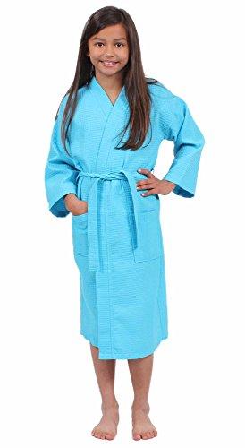 Turkuoise Girls Waffle Robe, Spa Party Bathrobe Made in Turkey (1023-TURQ-L) - Blue Girls Robe
