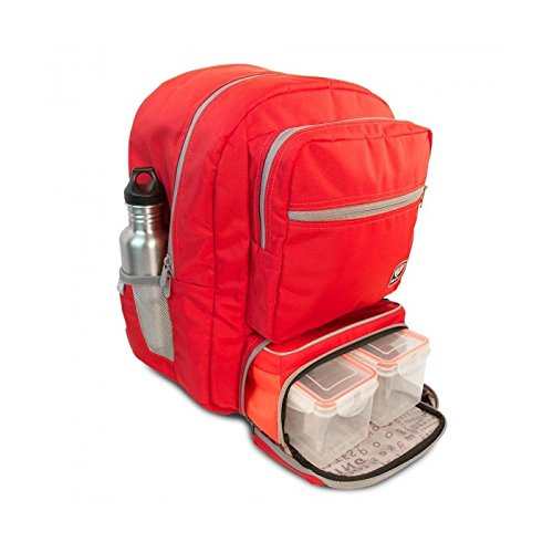 Fitmark Transporter Backpack with Removable Meal Prep Insulated Bag with BPA Free Portion Control Meal Containers, Reusable Ice Packs, Red