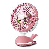 Battery Operated Clip Fan, Mini Personal Desk Fan, Stroller Fan for Baby, Portable Silent USB Fan, Rechargeable Battery Fans, Cute Design Adjustable Tilt Operation for Home, Traveling, Office (Pink)