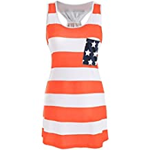 Clearance Mikey Store Women Stripe Printed Bowknot American Flag Tank Tops Casual Blouse