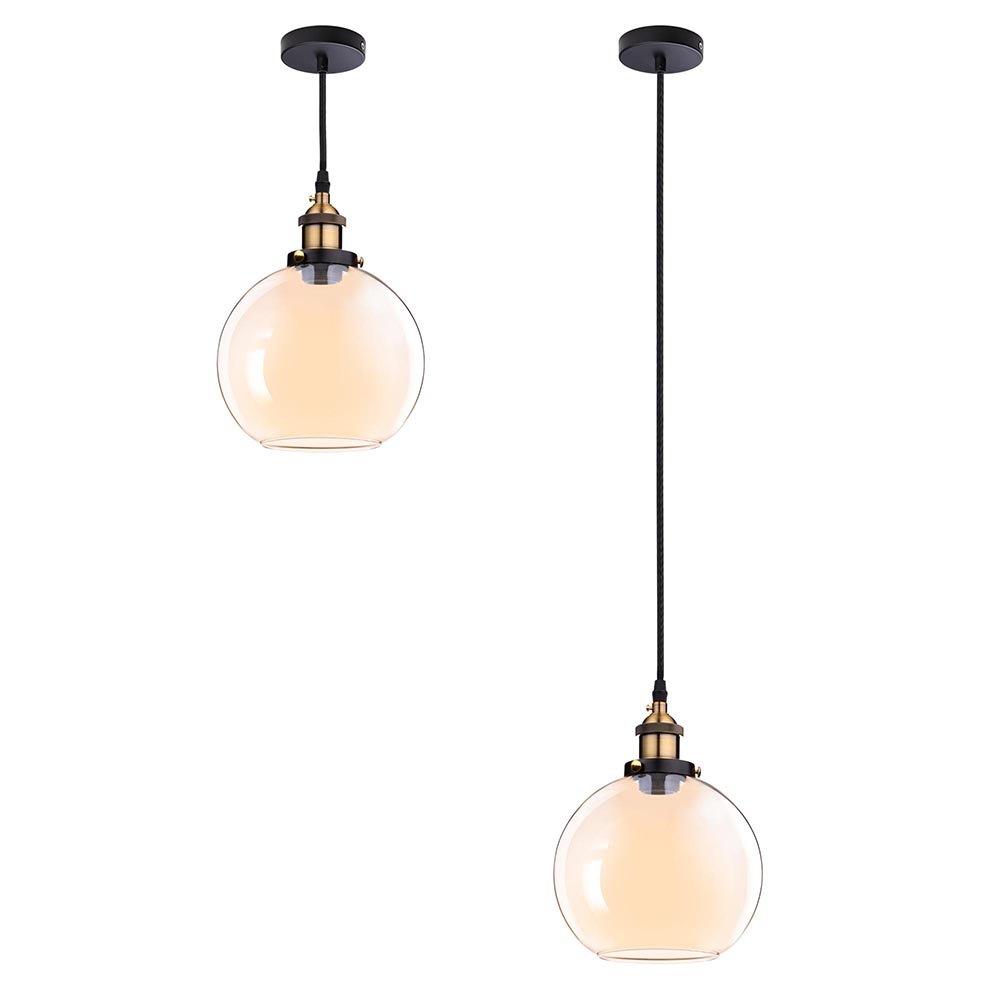 Vintage Industrial 7.9'' Glass Ball Ceiling Light Pendant Chandelier Light Edison Lamp Cafe Kitchen Amber