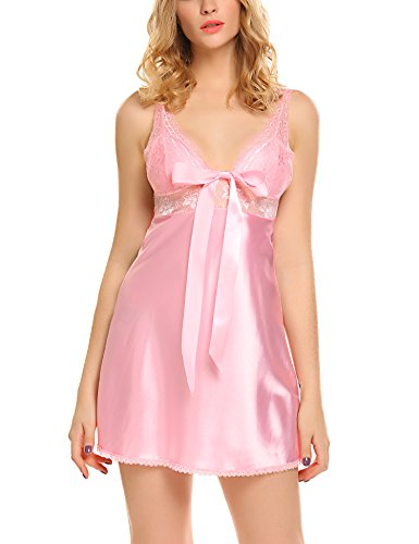Avidlove Women Sexy Nightie Lace Babydoll Lingerie Satin Chmeises Satin Nightgown Pink Large