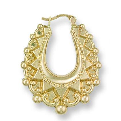 9ct or jaune Fancy ovale Boucles d'oreilles créoles 3.2g