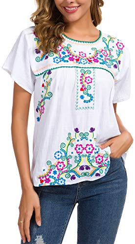 YZXDORWJ Women's Embroidered Mexican Peasant Blouse (XL, 169HL-W)