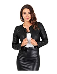 KRISP Womens Ladies PU Leather Cropped Jacket Open Blazer