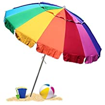 EasyGoUmbrella – Giant 8' Rainbow Beach Umbrella Heavy Duty Design Includes Sand Anchor & Carry Bag