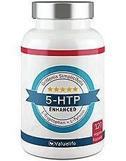 5-HTP Enhanced: vergelijkingswinnaar 2021 * 180 mg 5 HTP van Griffonia Simplicifolia Extract I Plus: L-tryptofaan, L-Tyrosin, tijgergras & vitamine B6, B12 - 120 veganistische capsules van Valuelife