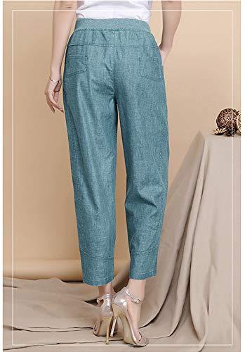 Laterali Pantaloni Lino Forti Tasche Palazzo Con Elasticizzati Verde Taglie Eleganti Donna Pants Casual qACSf