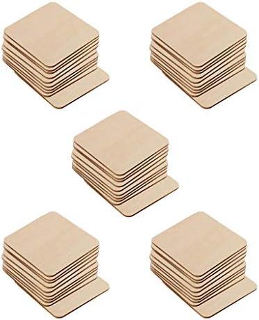 sharprepublic 木材チップ 木片 木製カード 正方形 装飾用木材チップ 木のスライス 子供 絵画 約50個入り
