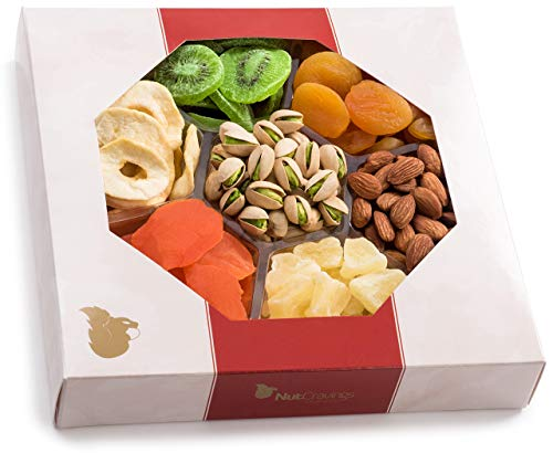 Nut Cravings Extra-Large Dried Fruit and Nut Gift Platter - Father's Day Gift Baskets w/7 Different Dried Prime Fruits & Nuts - Sympathy, Condolence, Birthday, Healthy Gift Box For Any Occasion