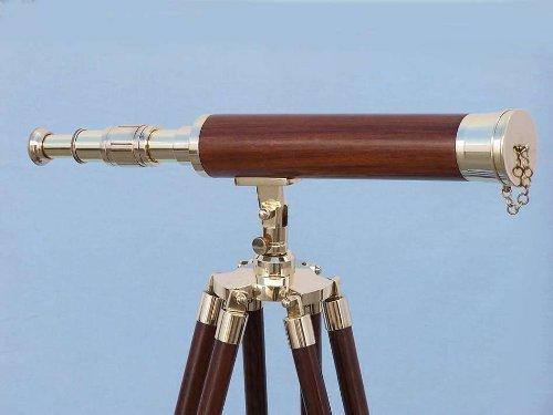 Hampton Nautical  Floor Standing Brass/Wood Harbor Master Telescope, 50'', Brass by Hampton Nautical (Image #7)