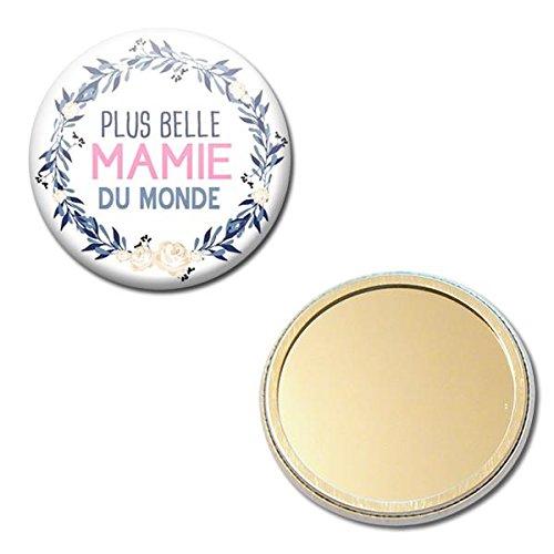 La Plus Belle MAMIE du Monde Miroir de poche 56mm ( Idée Cadeau pour la Fête des Grands Mères Noël Anniversaire Mamy )