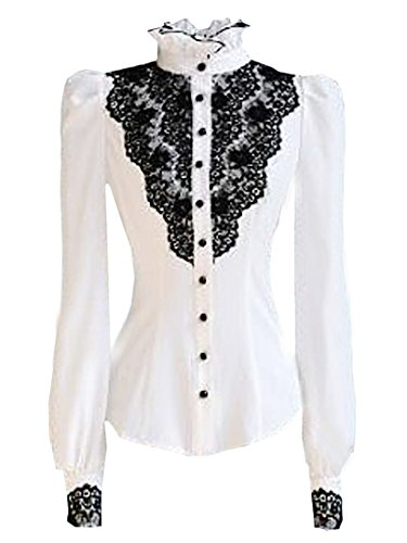 Choies Women's Vintage White with Black Lace Stand-Up Collar Puff Long Sleeve Shirts ()