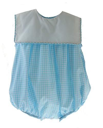 - Baby Girls Turquoise Gingham Bubble Outfit Monogram Bib Collar 24M