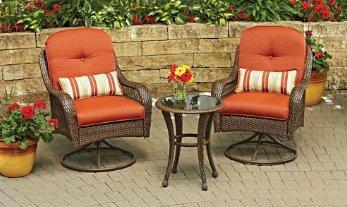 3-Piece Woven Bistro Set Seats 2 Azalea Ridge, Burnt Orange