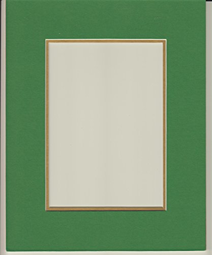 16x20 Bright Green & Gold Double Picture Mat, Bevel Cut for 12x16 Picture or Photo