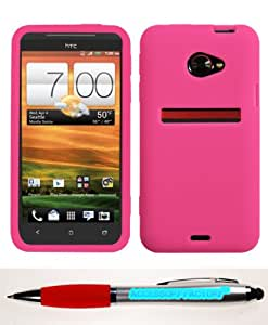 Accessory Factory(TM) Bundle (Phone Case, 2in1 Stylus Point Pen) HTC EVO 4G LTE Solid Skin Cover (Hot Pink)