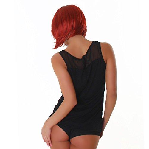 Voyelles camisa de las señoras de la blusa blusas túnica túnica remaches blusa sin mangas de la gata se ven cuello redondo Negro