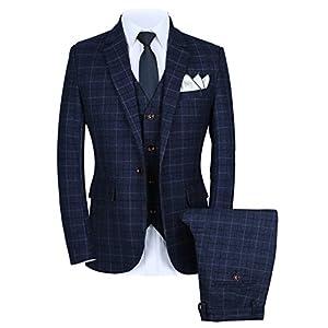 Mens One Button Slim Fit Plaid Suit Blazer+Vest+Pants