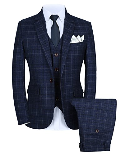 Blue Plaid Suit (Mens One Button Slim Fit Plaid Suit Blazer+Vest+Pants US size 36 (Lable 2XL))