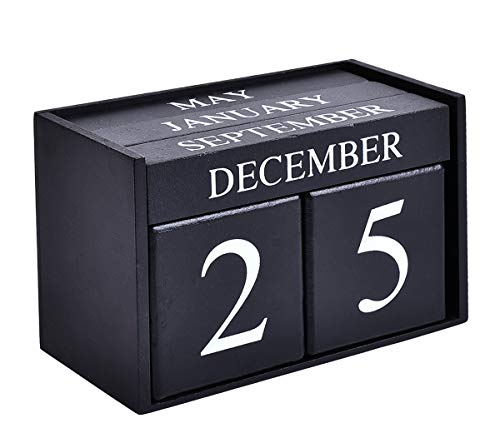 (Wooden Desk Blocks Calendar - Perpetual Block Month Date Display Home Office Decoration(Black), 6.1 x 3.9 x 2.9 inches )