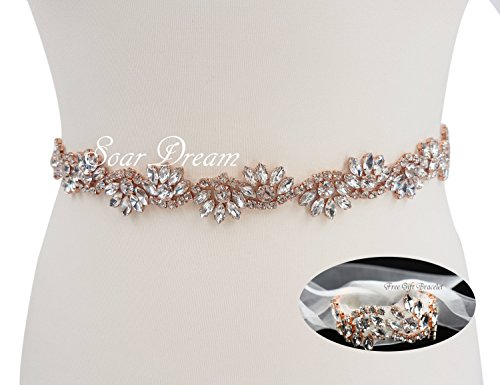 SoarDream White Organza Bridal Belts and Wedding Bracelet Rose Gold Rhinestone Appliques Pearls Beaded Embellishments Handcrafted Sparkle Elegant Sewing for DIY Wedding Prom
