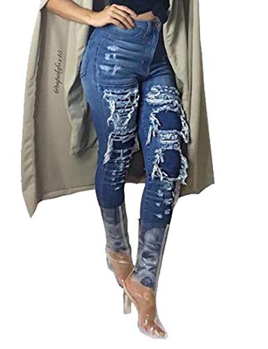 MK988 Womens High Waist Fringes Zip Trim Destroyed Stylish Stretchy Denim Jeans Pants 1 XS ()