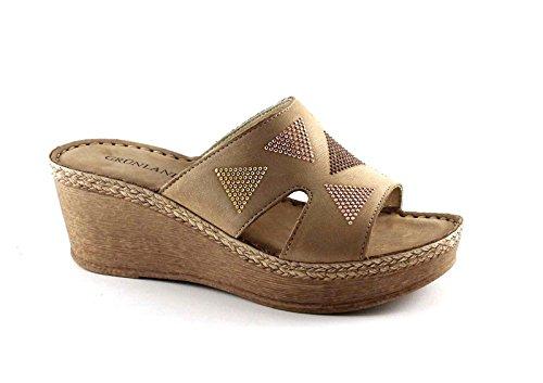 Grünland LELI CI2156 zapatillas de cáñamo de color beige mujer de cuña brillo Beige
