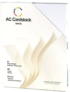 """American Crafts Cardstock Pack 8.5""""X11"""" 60/Pkg-Whi - 631725"""