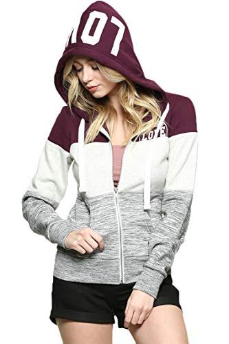 - Urban Look Womens Active Long Sleeve Fleece Zip Up Hoodie with Plus Sizes (Medium, B Love Color Block Plum)