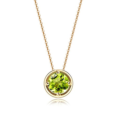 (Carleen Solid 14K Yellow Gold Birthday Round Gemstone August Solitaire Peridot Birthstone Necklace Pendant Delicate Dainty Fine Jewelry Women Girl, 18 inch)