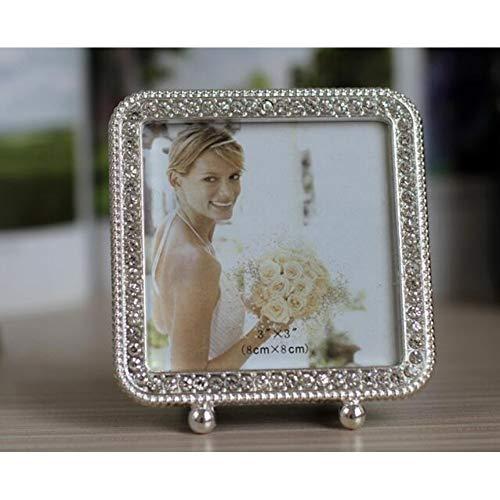 MMYU Photo Frame Wedding Photo Frame Shiny Silver Metal Picture Framework Mirror Love Heart Shape Circle Square Rectangle