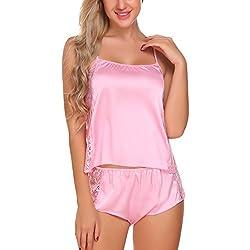 Avidlove Women Sleepwear Satin Pajama Cami Set Lace Lingerie Sexy Nightwear Pink M