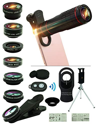 Cell Phone Camera Lens Kit,14 in 1 Universal 22x Zoom Telephoto,0.63Wide Angle+15X Macro+198°Fisheye+2X Telephoto+Kaleidoscope+CPL/Starlight/Eyemask/Tripod/Remote Shutter,For Iphone Smartphone (black) Digital Zoom Lens Camera Lens